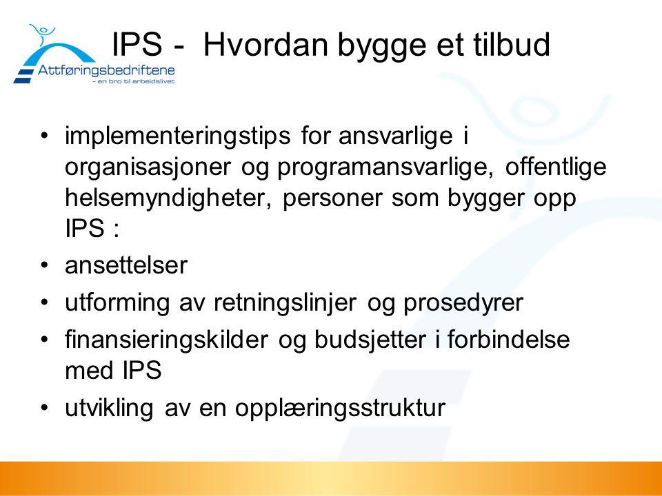 IPS - Hvordan bygge et tilbud implementeringstips for ansvarlige i organisasjoner og programansvarlige, offentlige helsemyndigheter, personer som bygg