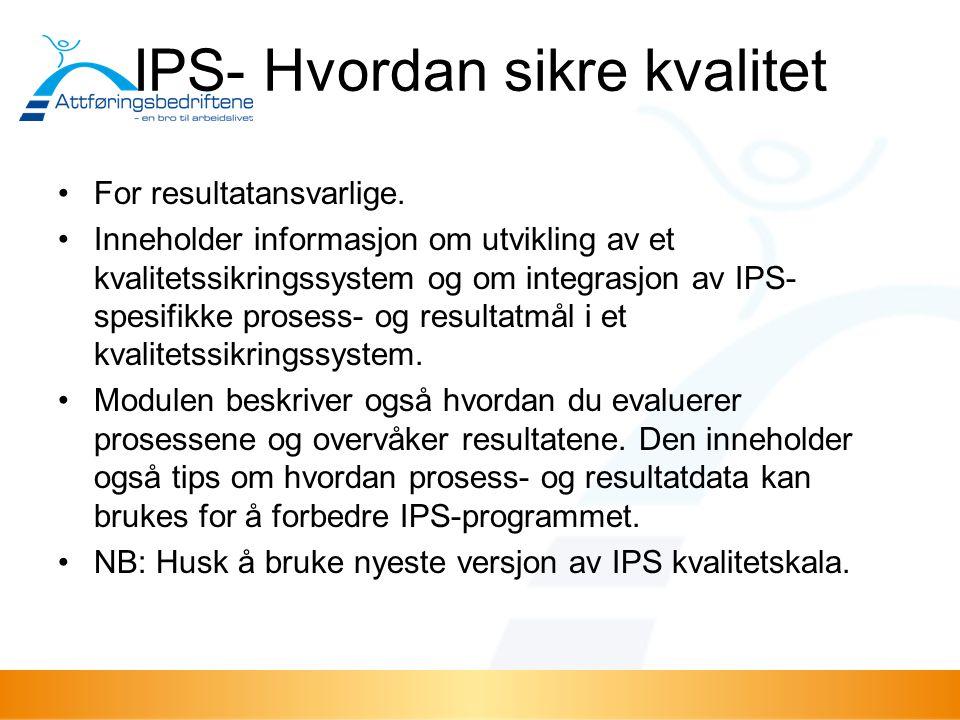 IPS- Hvordan sikre kvalitet For resultatansvarlige. Inneholder informasjon om utvikling av et kvalitetssikringssystem og om integrasjon av IPS- spesif