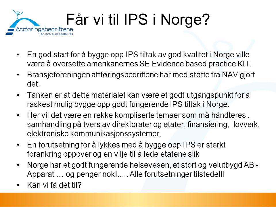 Får vi til IPS i Norge? En god start for å bygge opp IPS tiltak av god kvalitet i Norge ville være å oversette amerikanernes SE Evidence based practic
