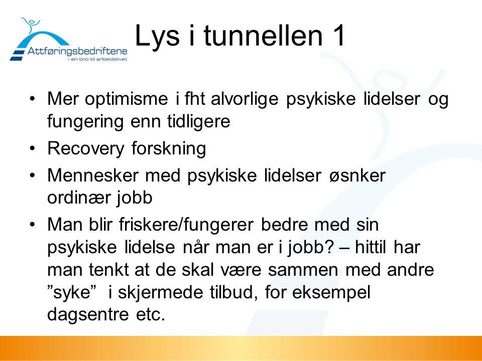 Lys i tunnellen 1 Mer optimisme i fht alvorlige psykiske lidelser og fungering enn tidligere Recovery forskning Mennesker med psykiske lidelser øsnker