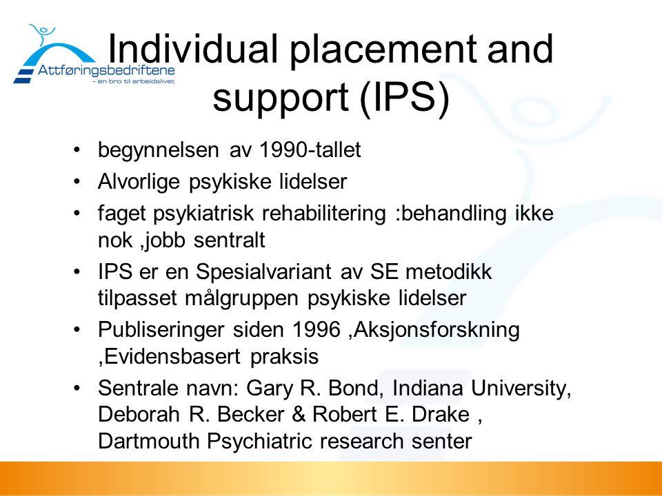 Individual placement and support (IPS) begynnelsen av 1990-tallet Alvorlige psykiske lidelser faget psykiatrisk rehabilitering :behandling ikke nok,jo