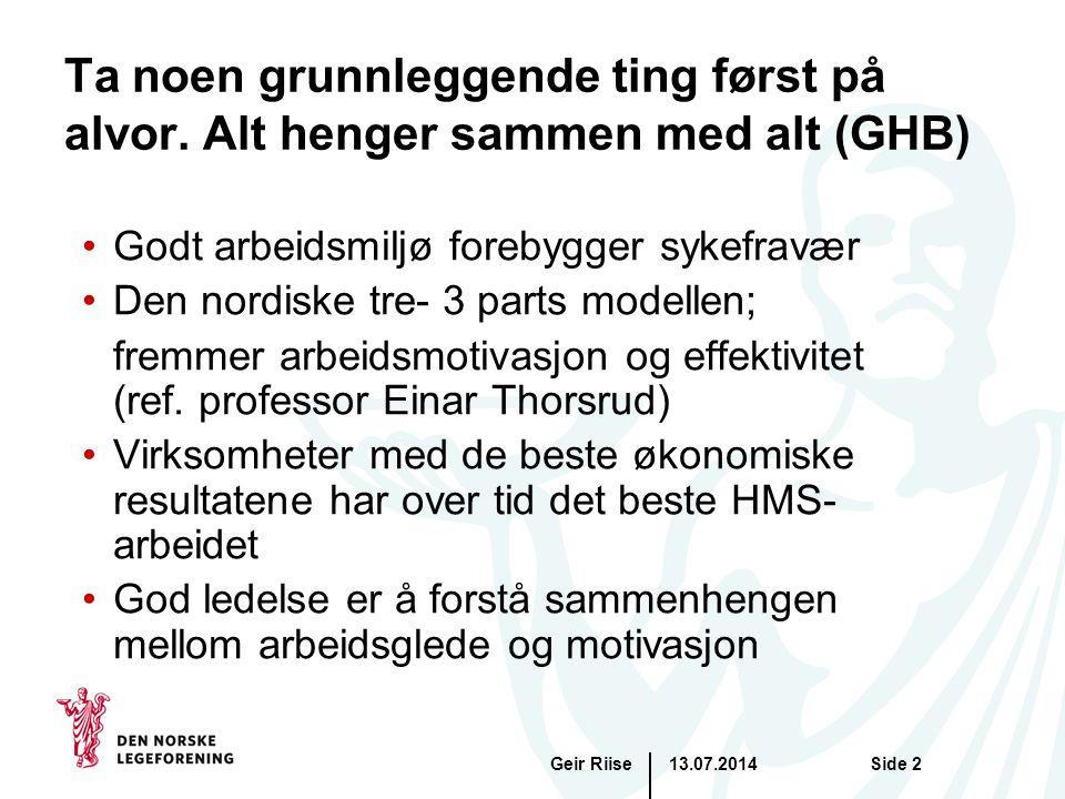 13.07.2014Geir RiiseSide 2 Ta noen grunnleggende ting først på alvor.