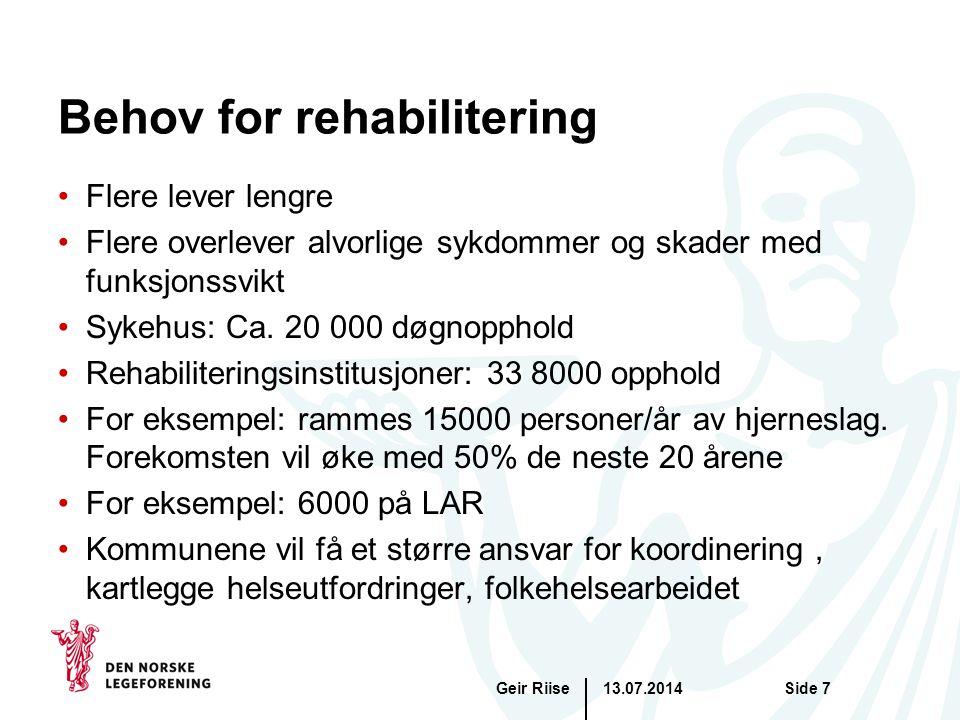 13.07.2014Geir RiiseSide 8 De fleste pasienter har plager som kan ha sammenheng med helserelatert atferd