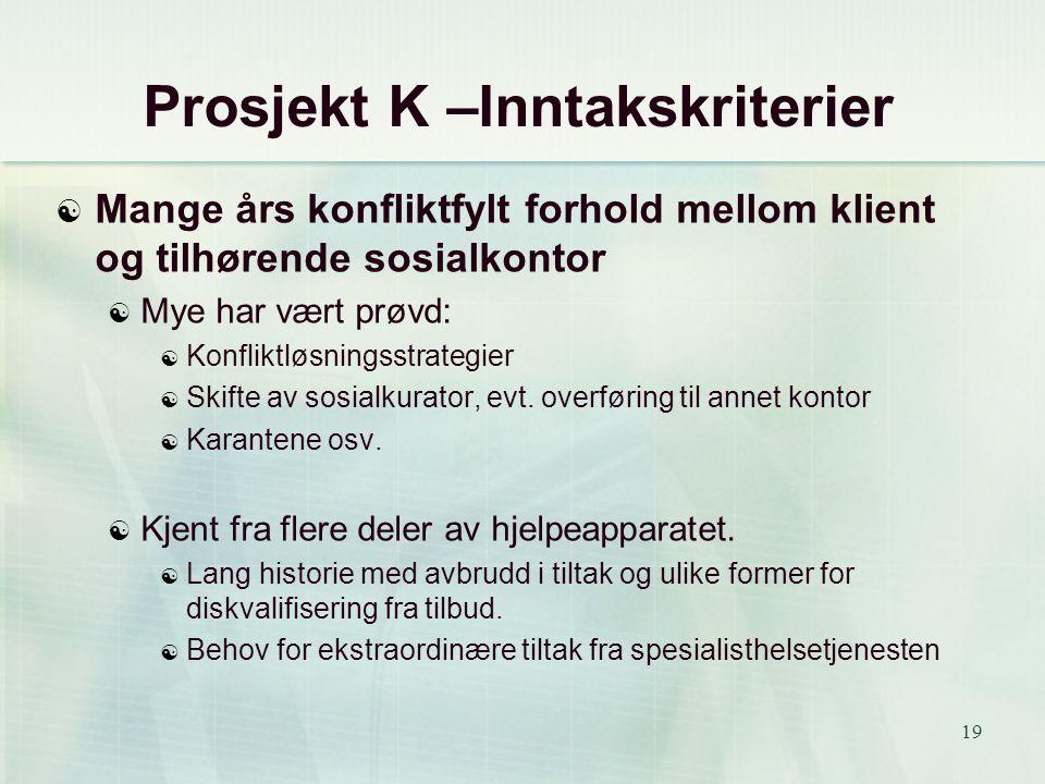 19 Prosjekt K –Inntakskriterier  Mange års konfliktfylt forhold mellom klient og tilhørende sosialkontor  Mye har vært prøvd:  Konfliktløsningsstra