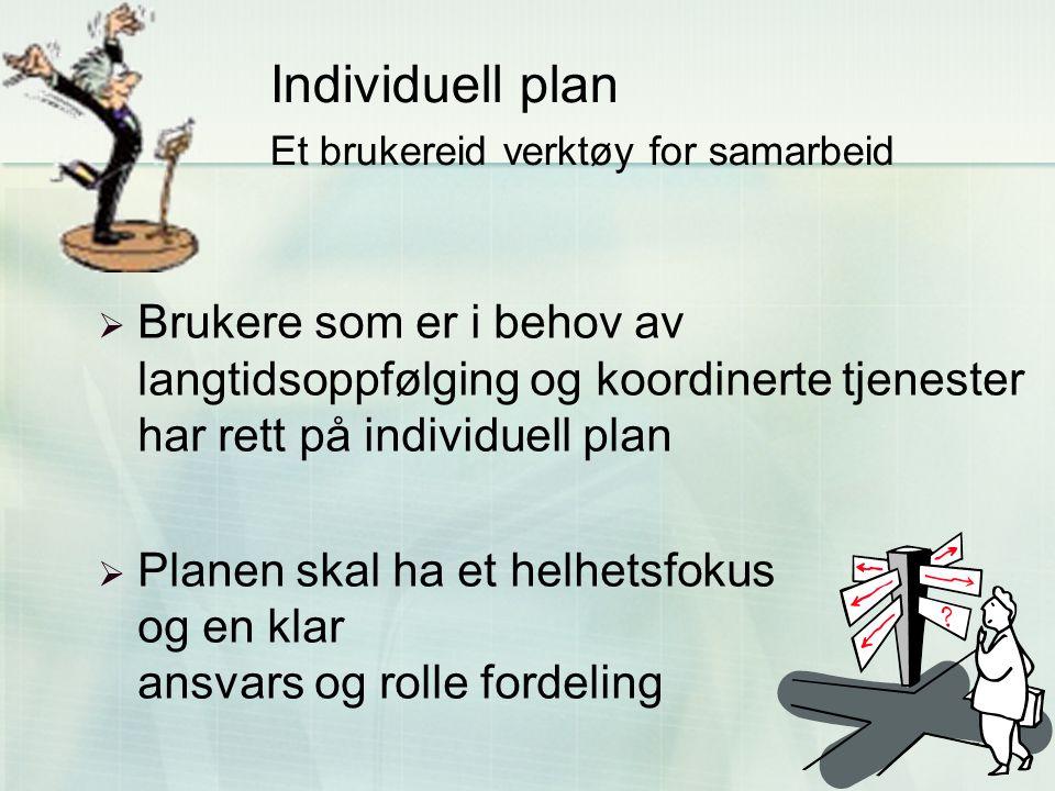 28 Individuell plan Et brukereid verktøy for samarbeid  Brukere som er i behov av langtidsoppfølging og koordinerte tjenester har rett på individuell