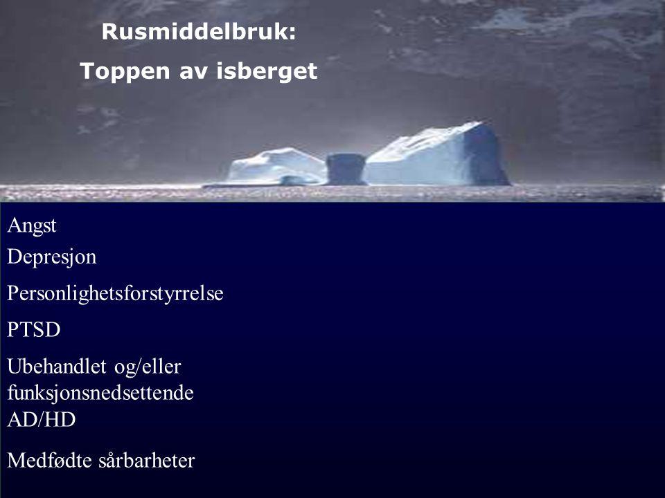 4 Rusmiddelbruk: Toppen av isberget Ubehandlet og/eller funksjonsnedsettende AD/HD Angst Depresjon Personlighetsforstyrrelse PTSD Medfødte sårbarheter