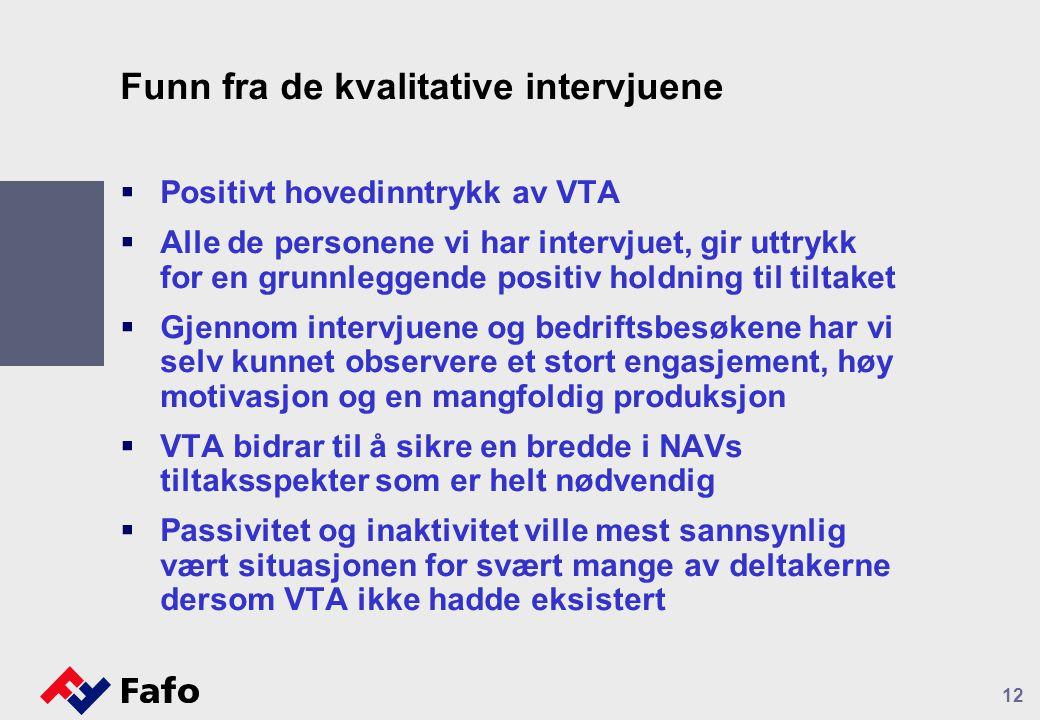Funn fra de kvalitative intervjuene  Positivt hovedinntrykk av VTA  Alle de personene vi har intervjuet, gir uttrykk for en grunnleggende positiv ho