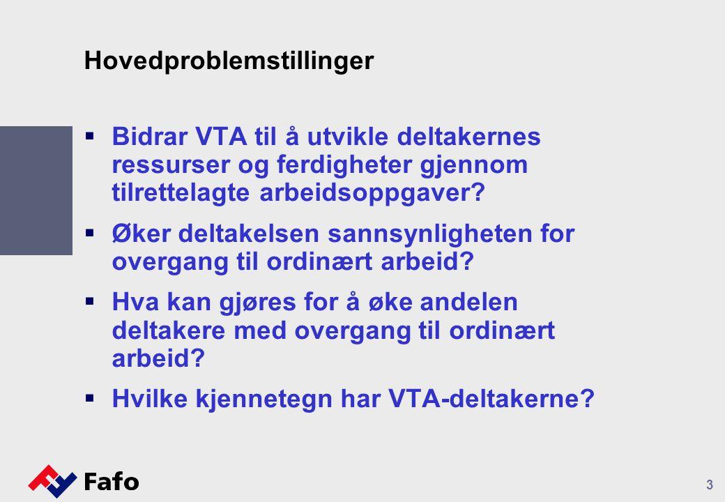 Hovedproblemstillinger  Bidrar VTA til å utvikle deltakernes ressurser og ferdigheter gjennom tilrettelagte arbeidsoppgaver?  Øker deltakelsen sanns