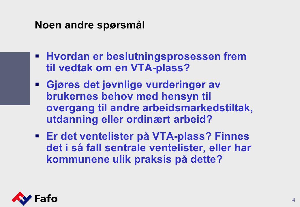 Noen andre spørsmål  Hvordan er beslutningsprosessen frem til vedtak om en VTA-plass?  Gjøres det jevnlige vurderinger av brukernes behov med hensyn