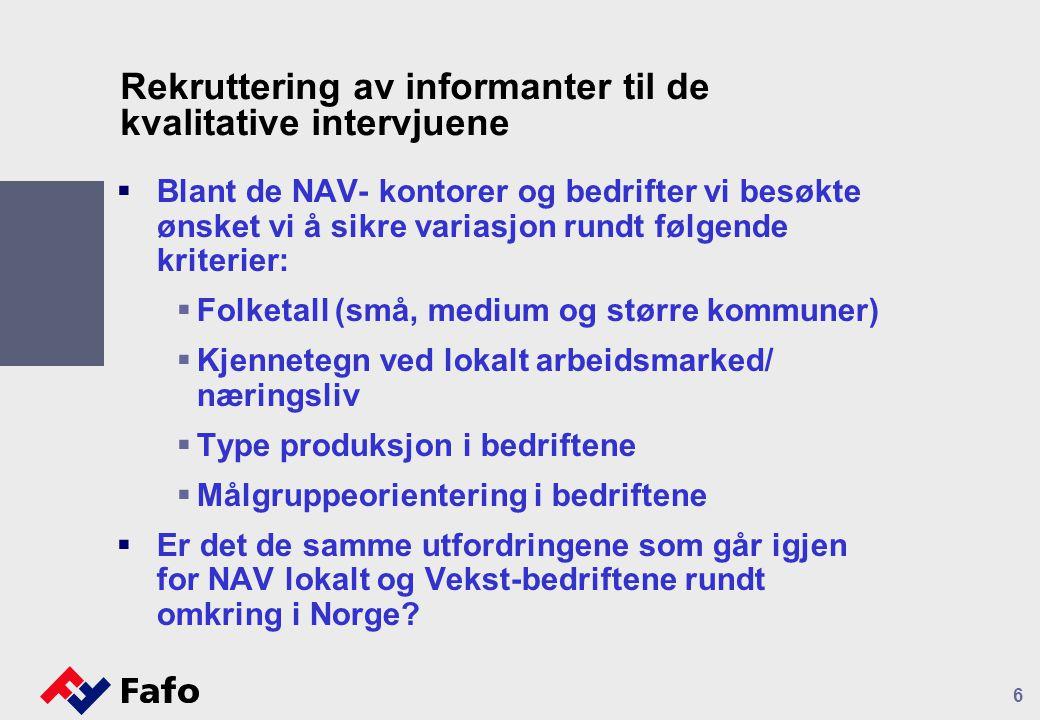 6 Rekruttering av informanter til de kvalitative intervjuene  Blant de NAV- kontorer og bedrifter vi besøkte ønsket vi å sikre variasjon rundt følgende kriterier:  Folketall (små, medium og større kommuner)  Kjennetegn ved lokalt arbeidsmarked/ næringsliv  Type produksjon i bedriftene  Målgruppeorientering i bedriftene  Er det de samme utfordringene som går igjen for NAV lokalt og Vekst-bedriftene rundt omkring i Norge