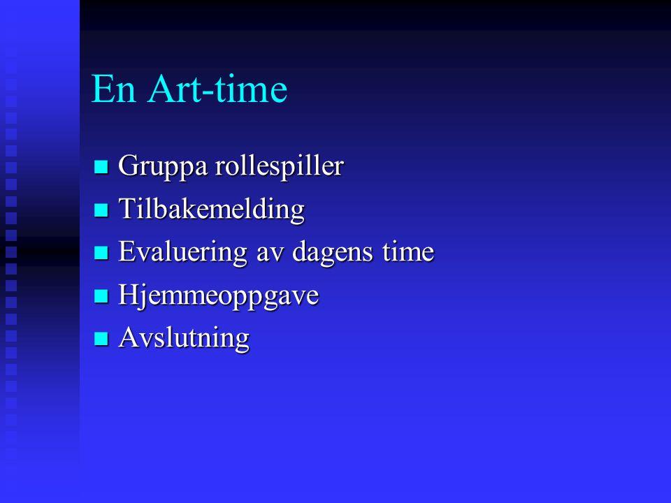 En Art-time Gruppa rollespiller Gruppa rollespiller Tilbakemelding Tilbakemelding Evaluering av dagens time Evaluering av dagens time Hjemmeoppgave Hjemmeoppgave Avslutning Avslutning