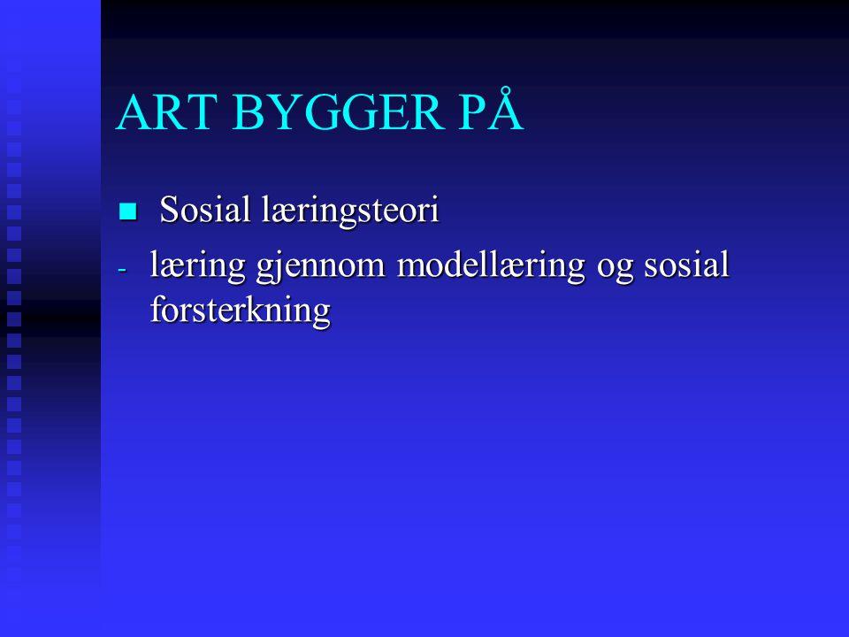 ART BYGGER PÅ Sosial læringsteori Sosial læringsteori - læring gjennom modellæring og sosial forsterkning