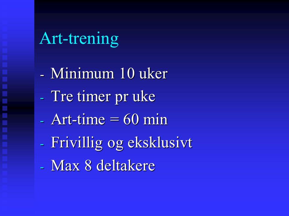Art-trening - Minimum 10 uker - Tre timer pr uke - Art-time = 60 min - Frivillig og eksklusivt - Max 8 deltakere