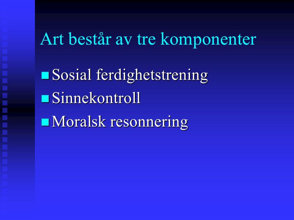 Art består av tre komponenter Sosial ferdighetstrening Sosial ferdighetstrening Sinnekontroll Sinnekontroll Moralsk resonnering Moralsk resonnering