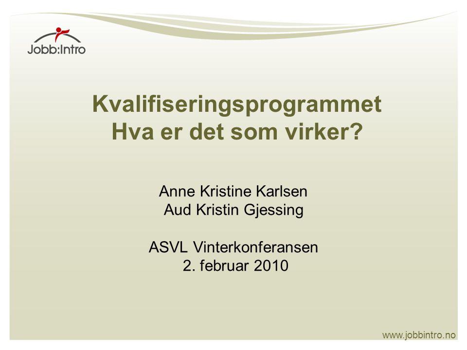 www.jobbintro.no Kvalifiseringsprogrammet Hva er det som virker.
