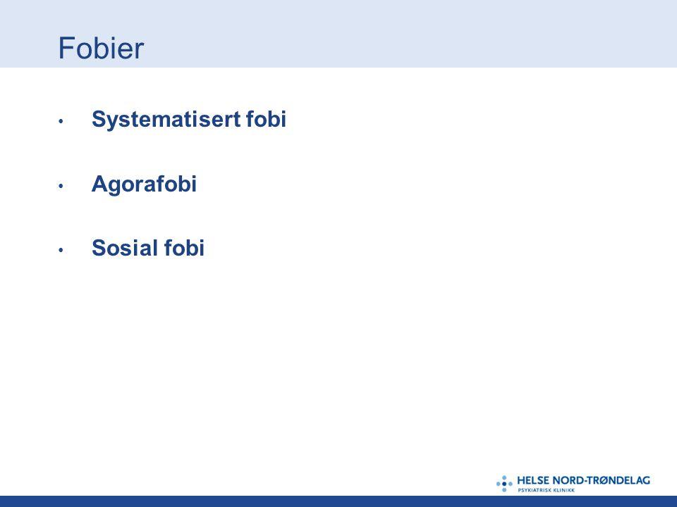 Angstlidelser - inndeling Fobier Panikklidelse (PD) Generalisert angstlidelse (GAD)