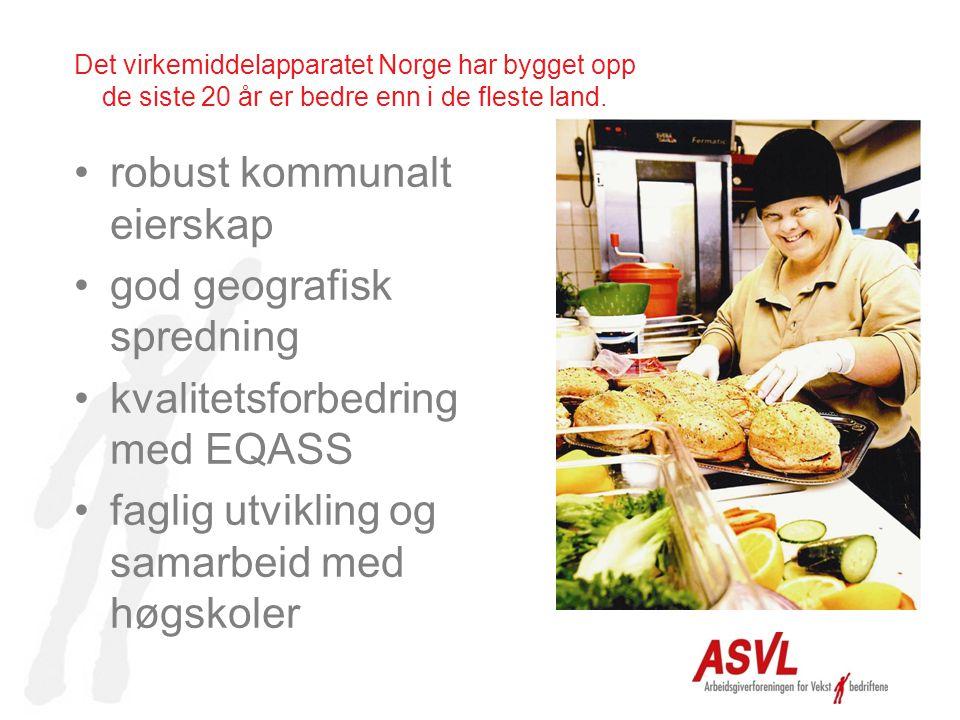 Det virkemiddelapparatet Norge har bygget opp de siste 20 år er bedre enn i de fleste land. robust kommunalt eierskap god geografisk spredning kvalite