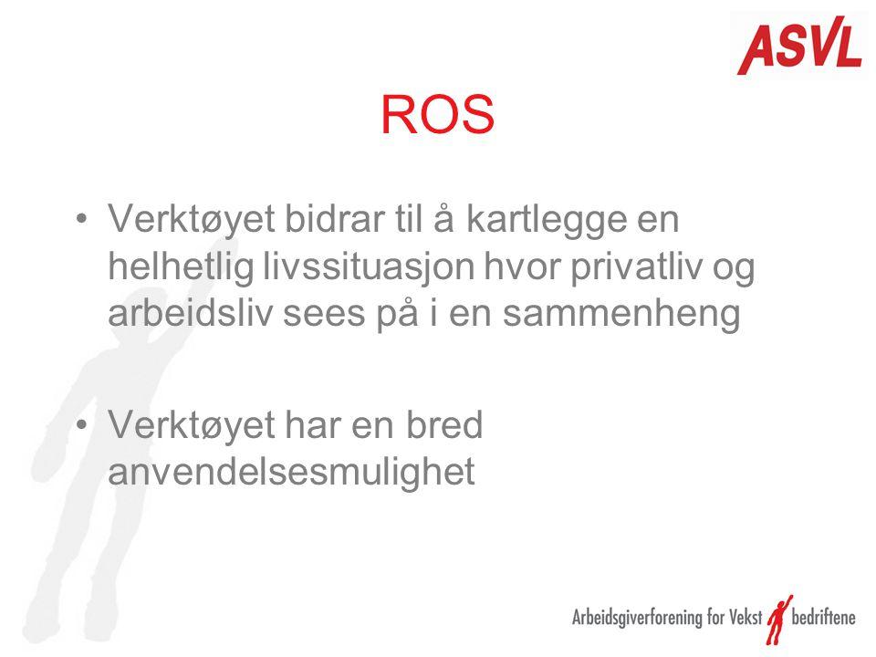 ROS Verktøyet bidrar til å kartlegge en helhetlig livssituasjon hvor privatliv og arbeidsliv sees på i en sammenheng Verktøyet har en bred anvendelses