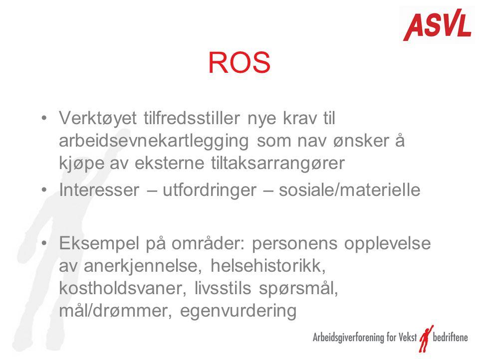 ROS Verktøyet tilfredsstiller nye krav til arbeidsevnekartlegging som nav ønsker å kjøpe av eksterne tiltaksarrangører Interesser – utfordringer – sos