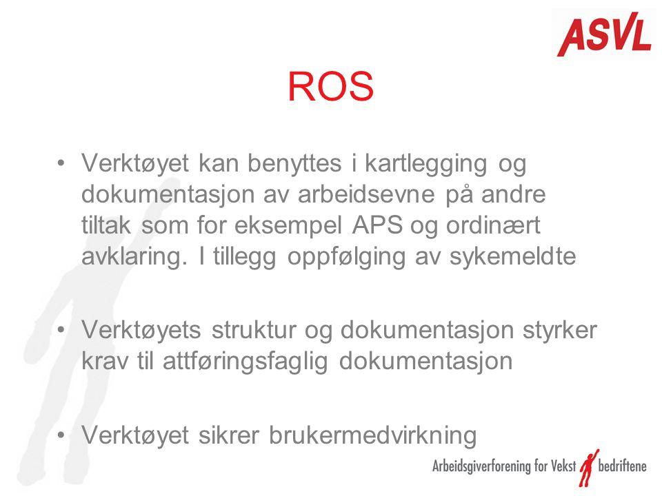 ROS Verktøyet kan benyttes i kartlegging og dokumentasjon av arbeidsevne på andre tiltak som for eksempel APS og ordinært avklaring. I tillegg oppfølg
