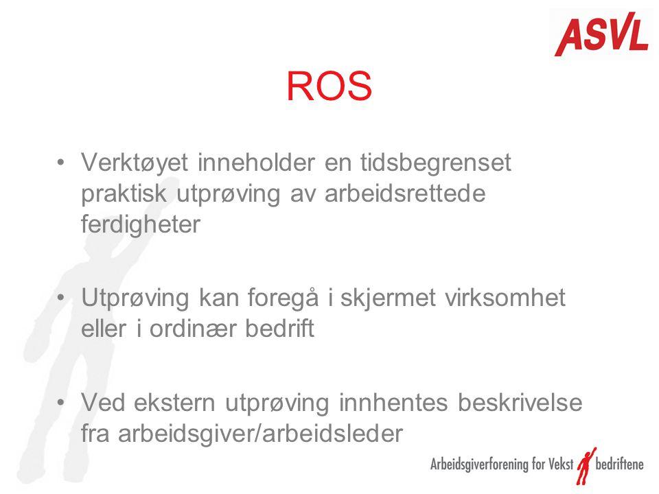 ROS Verktøyet inneholder en tidsbegrenset praktisk utprøving av arbeidsrettede ferdigheter Utprøving kan foregå i skjermet virksomhet eller i ordinær