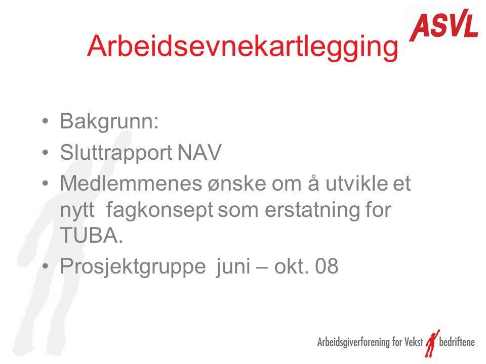Arbeidsevnekartlegging Bakgrunn: Sluttrapport NAV Medlemmenes ønske om å utvikle et nytt fagkonsept som erstatning for TUBA. Prosjektgruppe juni – okt
