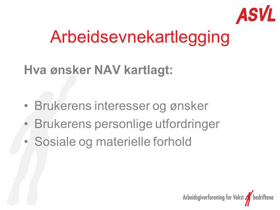 Arbeidsevnekartlegging Målgruppe Brukere som NAV definerer å ha behov for grundig arbeidsevnevurdering Innsøkere –NAV.