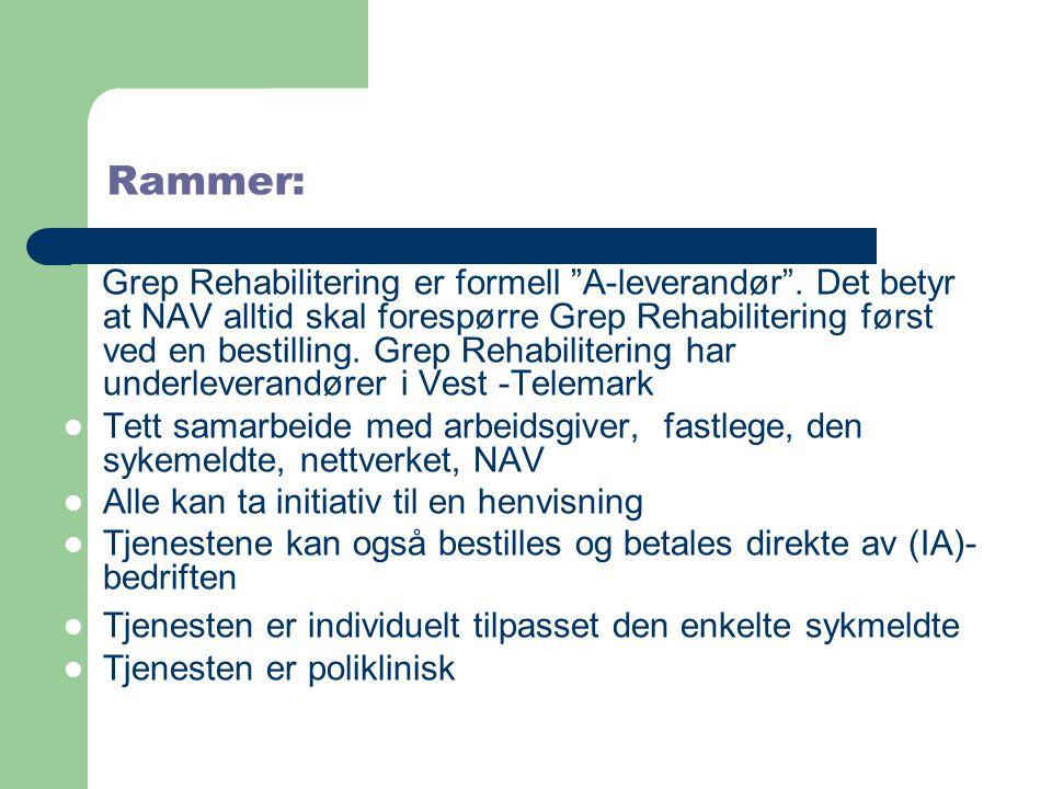 """Rammer: Grep Rehabilitering er formell """"A-leverandør"""". Det betyr at NAV alltid skal forespørre Grep Rehabilitering først ved en bestilling. Grep Rehab"""