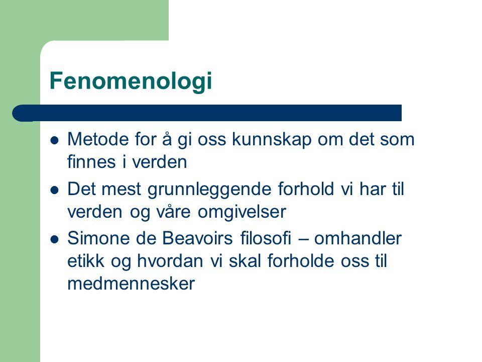 Fenomenologi Metode for å gi oss kunnskap om det som finnes i verden Det mest grunnleggende forhold vi har til verden og våre omgivelser Simone de Bea