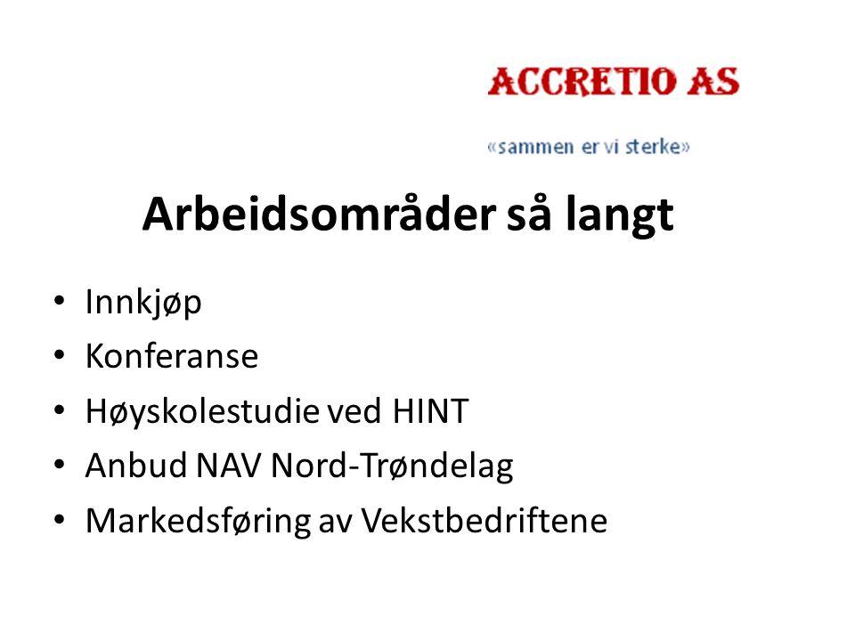 Arbeidsområder så langt Innkjøp Konferanse Høyskolestudie ved HINT Anbud NAV Nord-Trøndelag Markedsføring av Vekstbedriftene