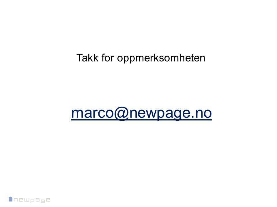marco@newpage.no Takk for oppmerksomheten