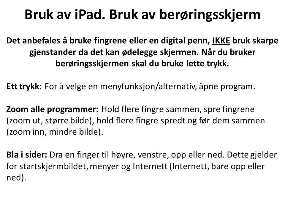 Bruk av iPad.