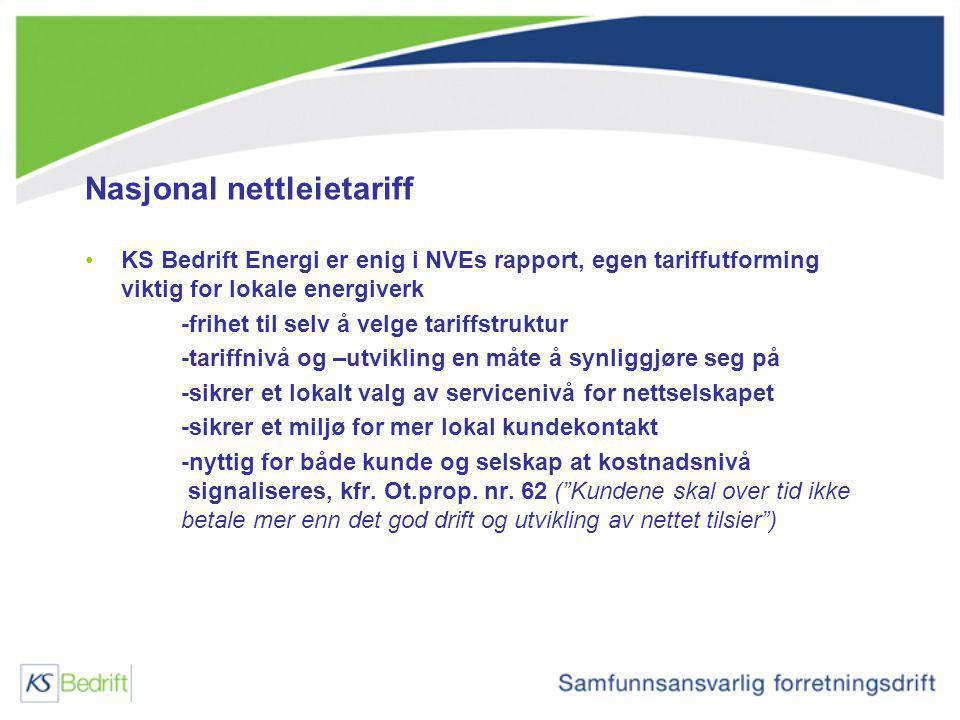 Nasjonal nettleietariff KS Bedrift Energi er enig i NVEs rapport, egen tariffutforming viktig for lokale energiverk -frihet til selv å velge tariffstr