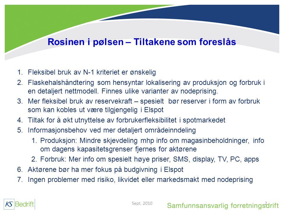 Rosinen i pølsen – Tiltakene som foreslås 1.Fleksibel bruk av N-1 kriteriet er ønskelig 2.Flaskehalshåndtering som hensyntar lokalisering av produksjon og forbruk i en detaljert nettmodell.