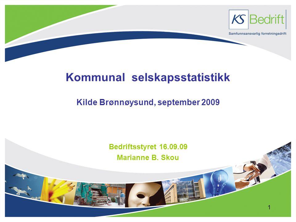1 Kommunal selskapsstatistikk Kilde Brønnøysund, september 2009 Bedriftsstyret 16.09.09 Marianne B.