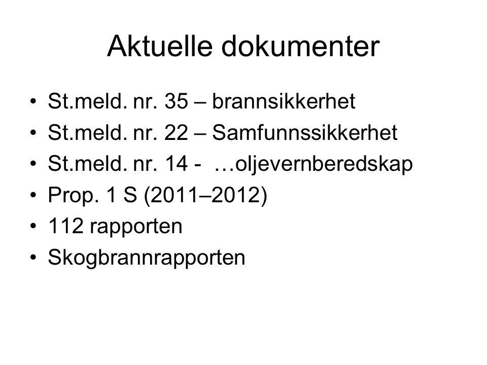 Aktuelle dokumenter St.meld. nr. 35 – brannsikkerhet St.meld.