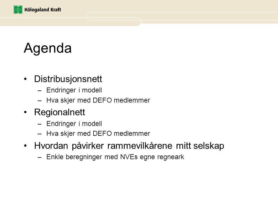 Agenda Distribusjonsnett –Endringer i modell –Hva skjer med DEFO medlemmer Regionalnett –Endringer i modell –Hva skjer med DEFO medlemmer Hvordan påvirker rammevilkårene mitt selskap –Enkle beregninger med NVEs egne regneark