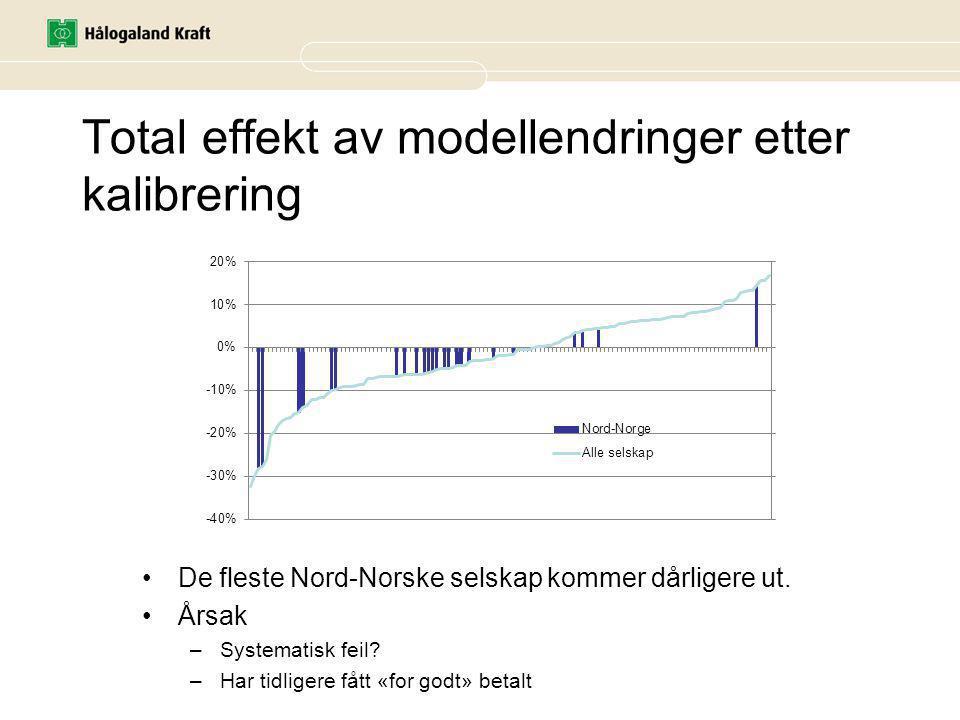 Total effekt av modellendringer etter kalibrering De fleste Nord-Norske selskap kommer dårligere ut.