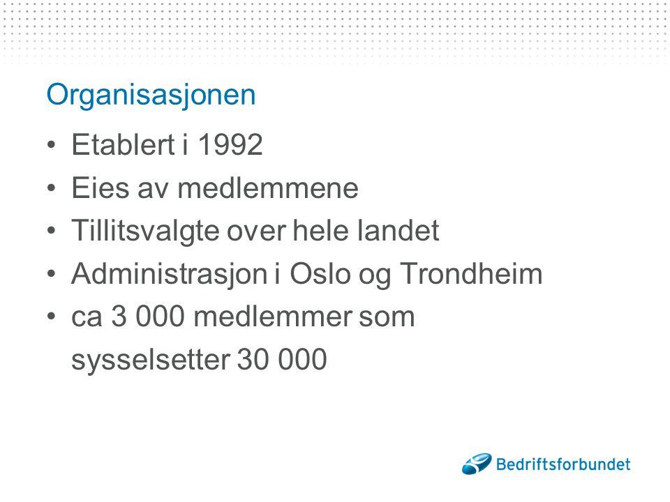 Organisasjonen Etablert i 1992 Eies av medlemmene Tillitsvalgte over hele landet Administrasjon i Oslo og Trondheim ca 3 000 medlemmer som sysselsetter 30 000