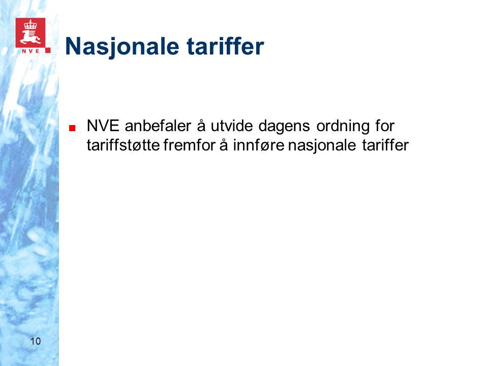 10 Nasjonale tariffer ■ NVE anbefaler å utvide dagens ordning for tariffstøtte fremfor å innføre nasjonale tariffer