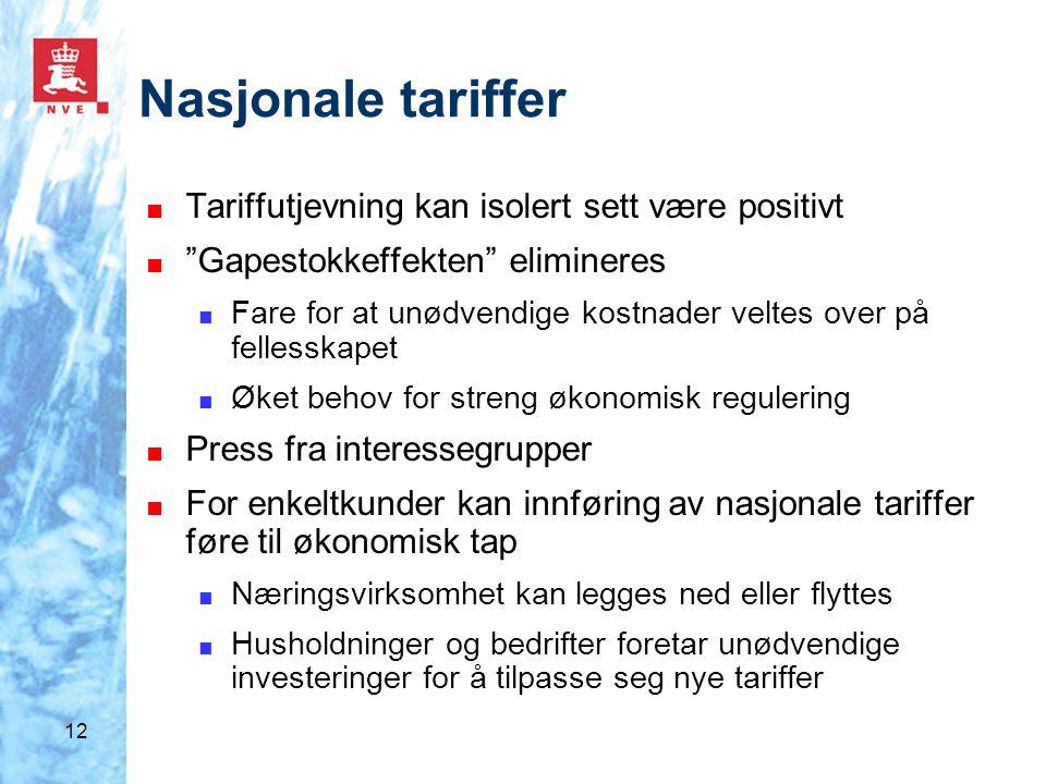 """12 Nasjonale tariffer ■ Tariffutjevning kan isolert sett være positivt ■ """"Gapestokkeffekten"""" elimineres ■ Fare for at unødvendige kostnader veltes ove"""