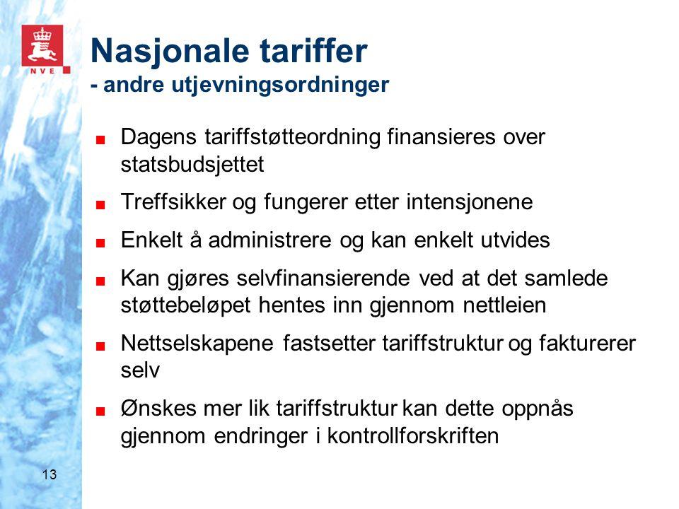 13 Nasjonale tariffer - andre utjevningsordninger ■ Dagens tariffstøtteordning finansieres over statsbudsjettet ■ Treffsikker og fungerer etter intens
