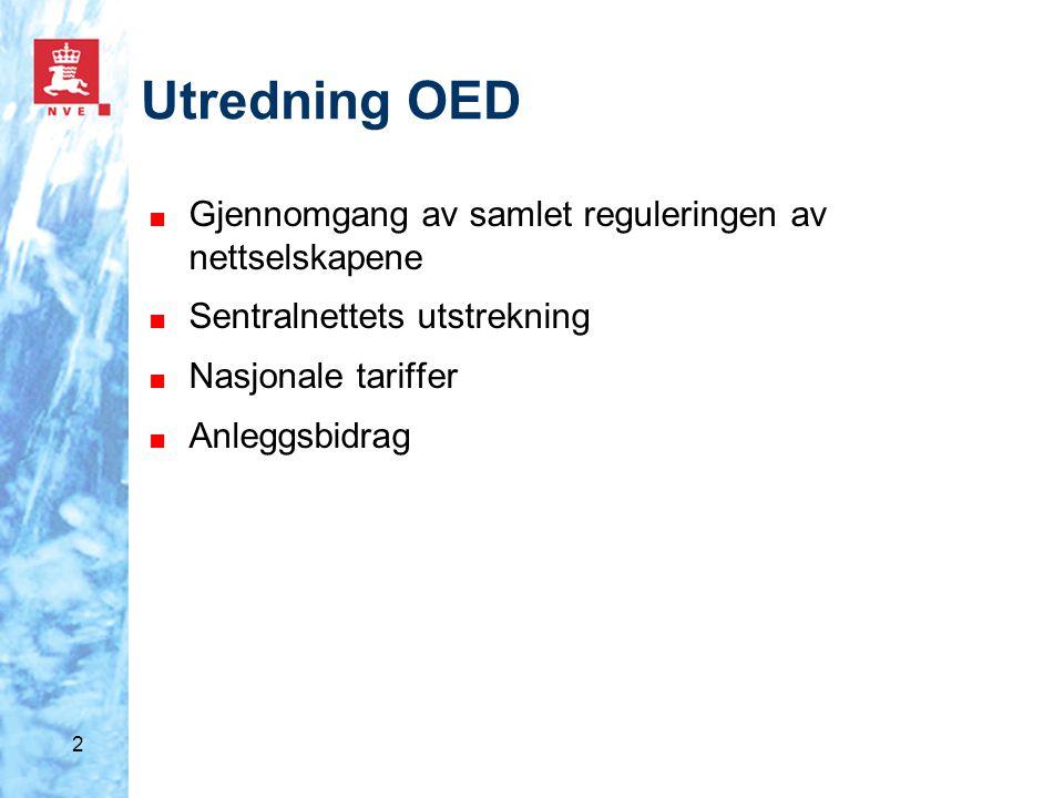 2 Utredning OED ■ Gjennomgang av samlet reguleringen av nettselskapene ■ Sentralnettets utstrekning ■ Nasjonale tariffer ■ Anleggsbidrag