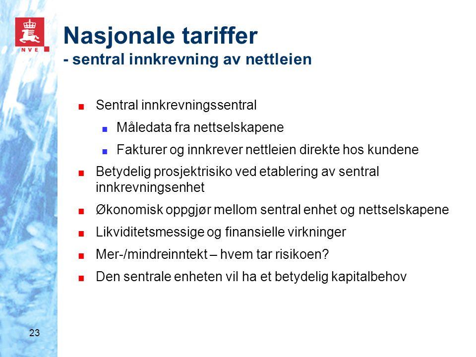 23 Nasjonale tariffer - sentral innkrevning av nettleien ■ Sentral innkrevningssentral ■ Måledata fra nettselskapene ■ Fakturer og innkrever nettleien