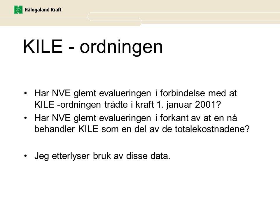 KILE - ordningen Har NVE glemt evalueringen i forbindelse med at KILE -ordningen trådte i kraft 1. januar 2001? Har NVE glemt evalueringen i forkant a