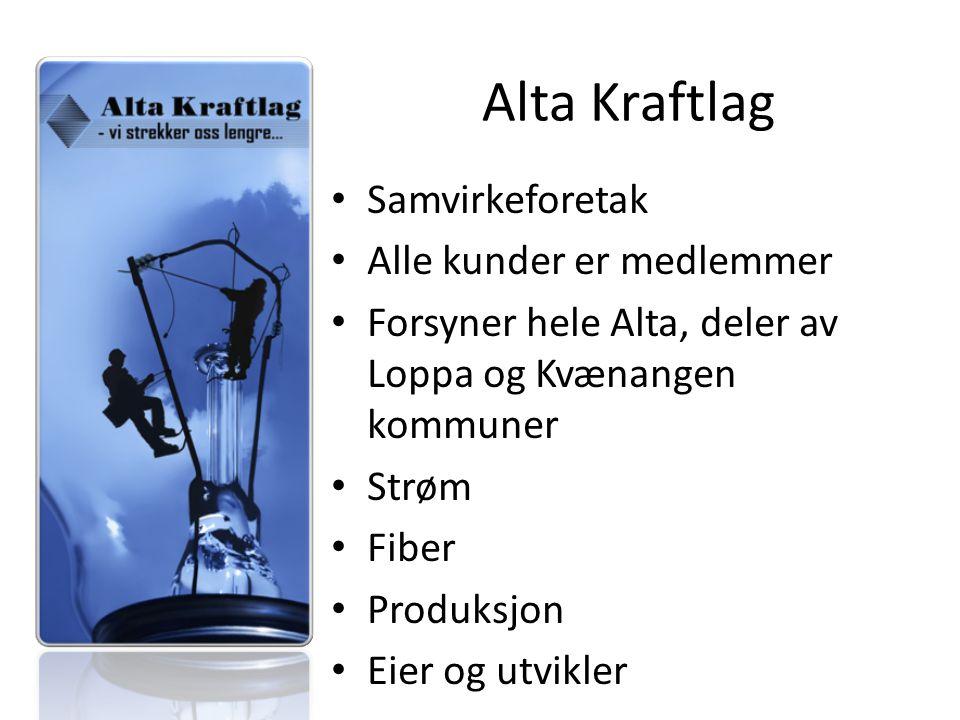 Alta Kraftlag Samvirkeforetak Alle kunder er medlemmer Forsyner hele Alta, deler av Loppa og Kvænangen kommuner Strøm Fiber Produksjon Eier og utvikler