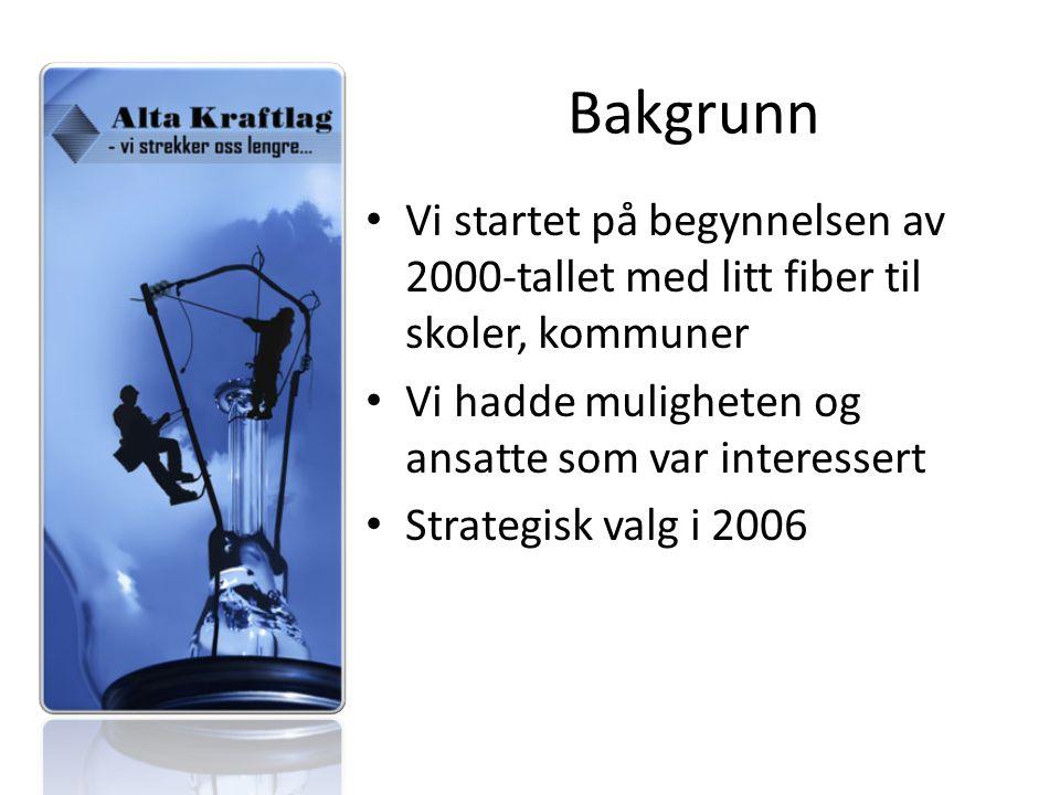 Bakgrunn Vi startet på begynnelsen av 2000-tallet med litt fiber til skoler, kommuner Vi hadde muligheten og ansatte som var interessert Strategisk valg i 2006