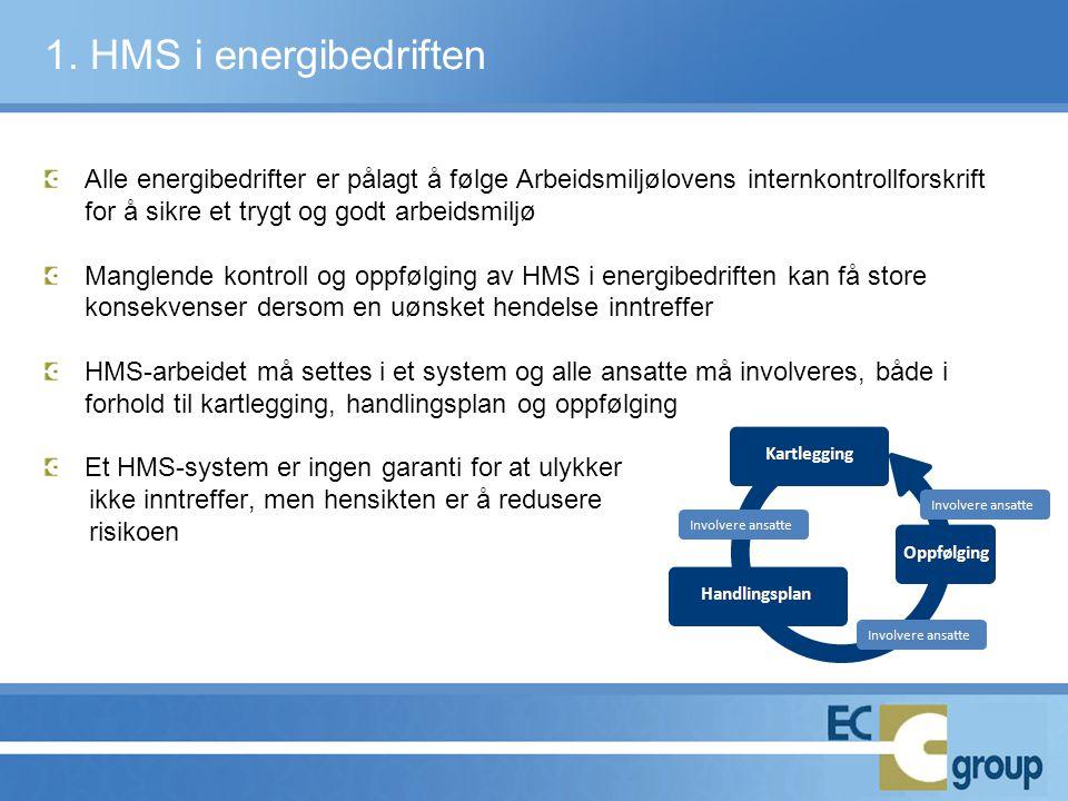 Alle energibedrifter er pålagt å følge Arbeidsmiljølovens internkontrollforskrift for å sikre et trygt og godt arbeidsmiljø Manglende kontroll og oppf
