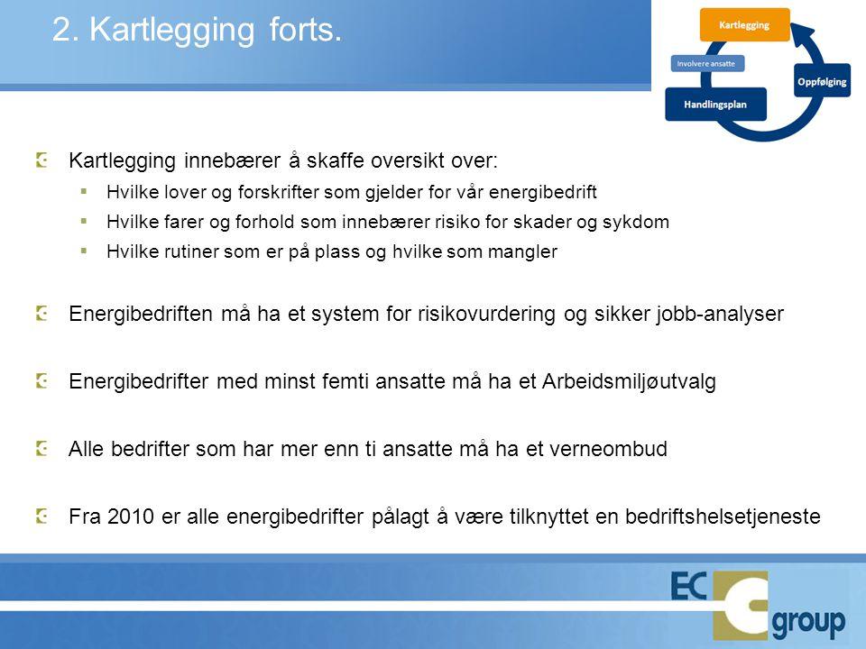 2. Kartlegging forts. Kartlegging innebærer å skaffe oversikt over:  Hvilke lover og forskrifter som gjelder for vår energibedrift  Hvilke farer og