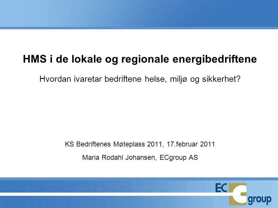 HMS i de lokale og regionale energibedriftene Hvordan ivaretar bedriftene helse, miljø og sikkerhet? KS Bedriftenes Møteplass 2011, 17.februar 2011 Ma